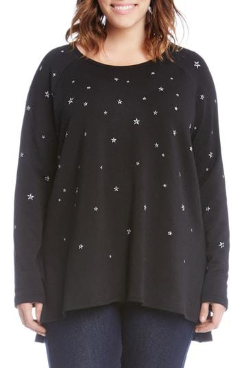 Karen Kane Star Print High/low Sweatshirt In Black