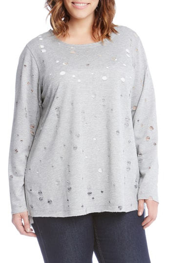 Karen Kane Distressed Long Sleeve Tee In Grey