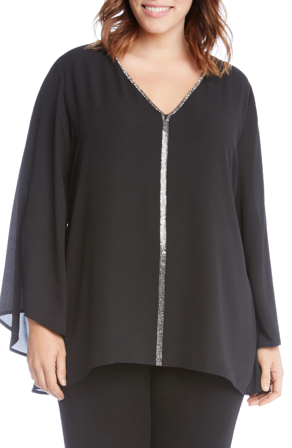 Karen Kane Sparkle Bell Sleeve Top In Black