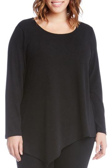 Karen Kane Asymmetrical Hem Sweater In Black