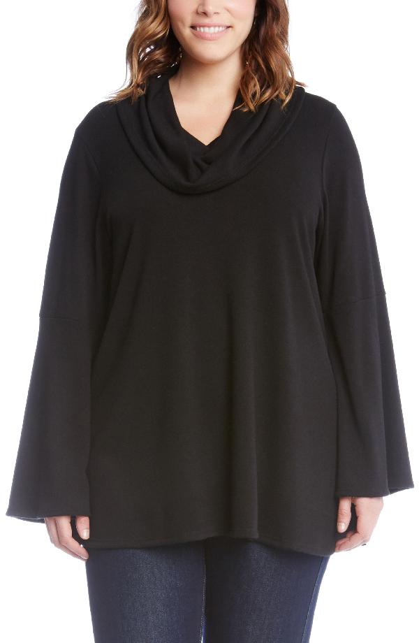 Karen Kane Flare Sleeve Cowl Neck Sweater In Black