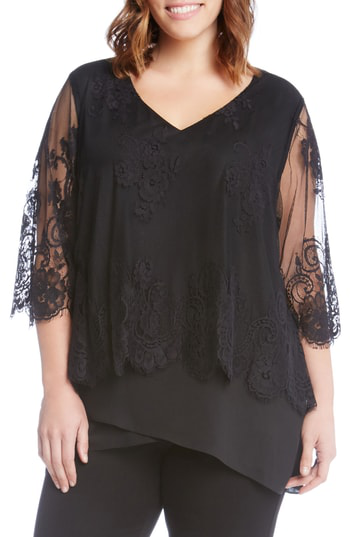 Karen Kane Lace Overlay Asymmetrical Top In Black