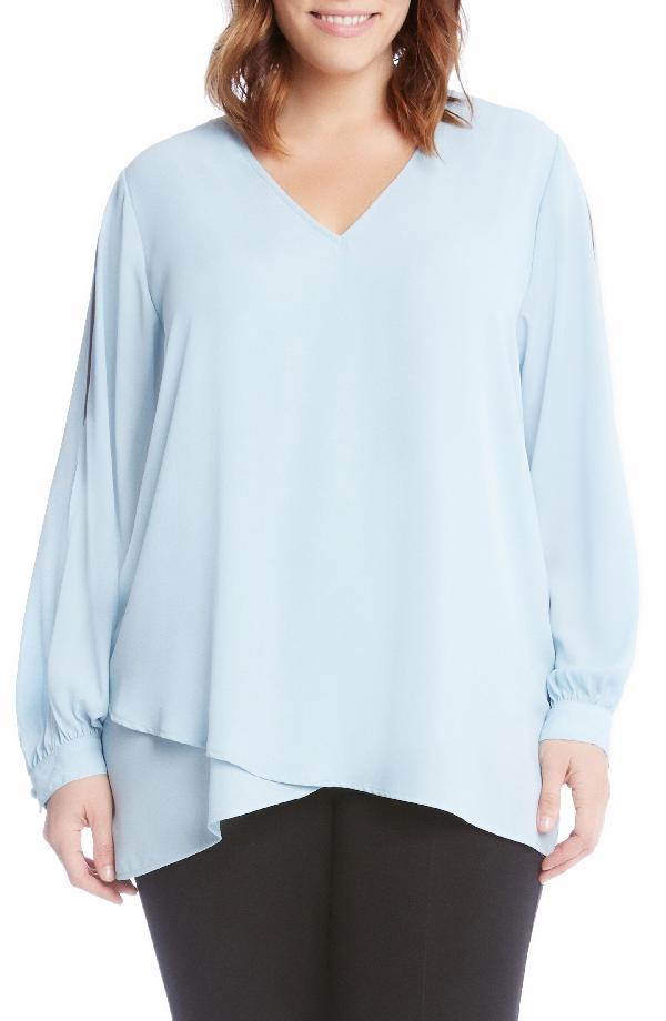 Karen Kane Slit Sleeve Asymmetrical Faux Wrap Top In Blue