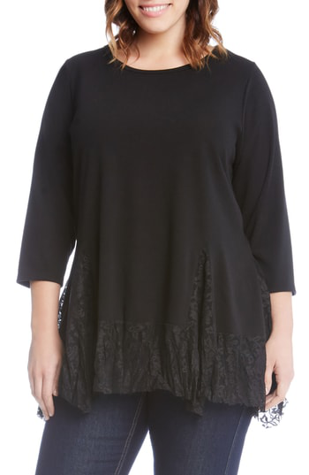 Karen Kane Karen Karen Lace Inset Sweater In Black