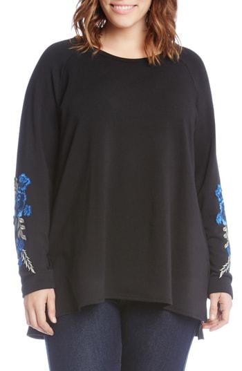 Karen Kane Applique Sleeve Sweatshirt In Black