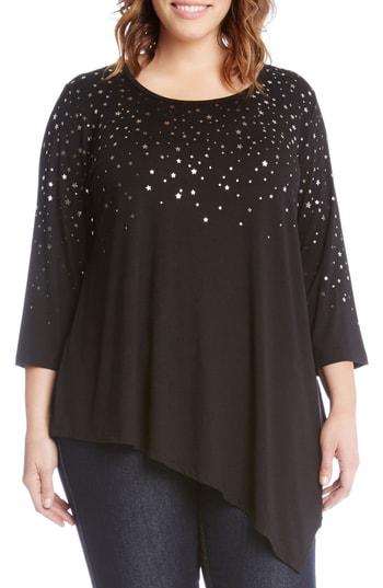 Karen Kane Falling Stars Asymmetrical Top In Black