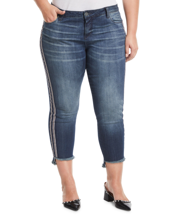 Kut From The Kloth Reese Straight-leg Frayed-ankle Jeans, Plus Size In Blue