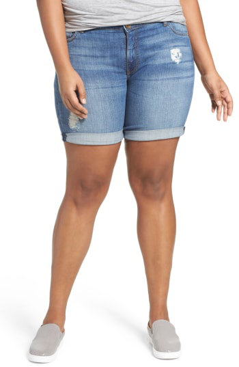 Kut From The Kloth Roll Cuff Stretch Denim Shorts In Envious
