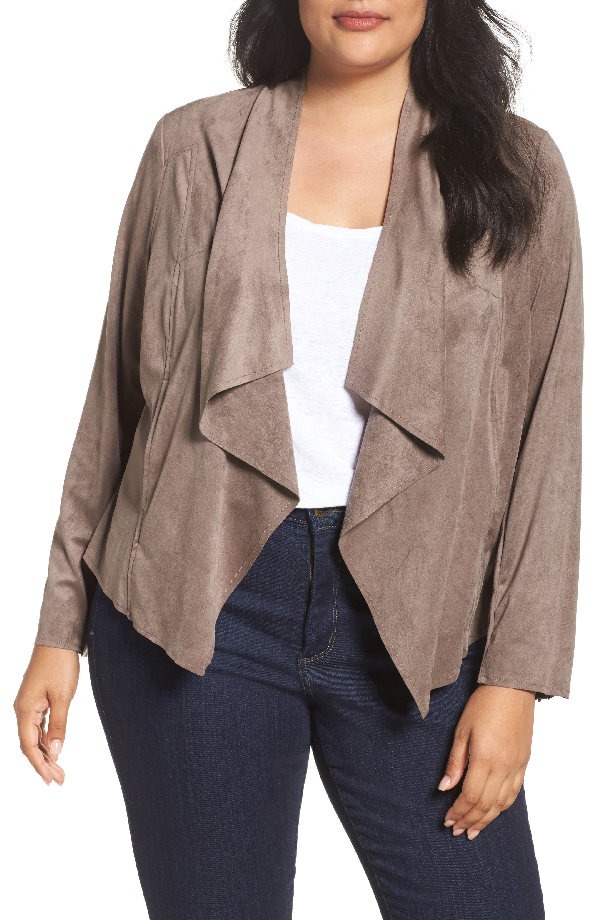 Kut From The Kloth Drape Front Faux Suede Jacket In Buff