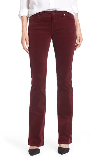 Kut From The Kloth Baby Bootcut Corduroy Jeans In Deep Burgundy
