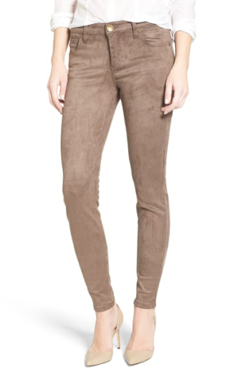 Kut From The Kloth Mia Faux Suede Skinny Jeans In Brown