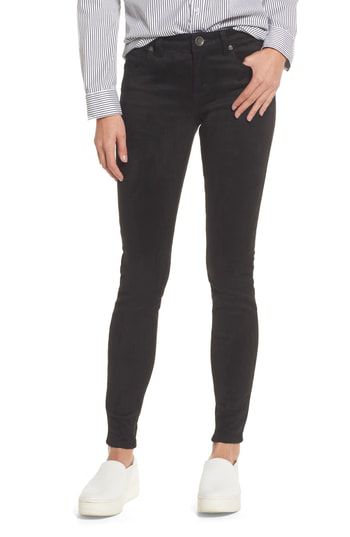 Kut From The Kloth Mia Faux Suede Skinny Jeans In Black