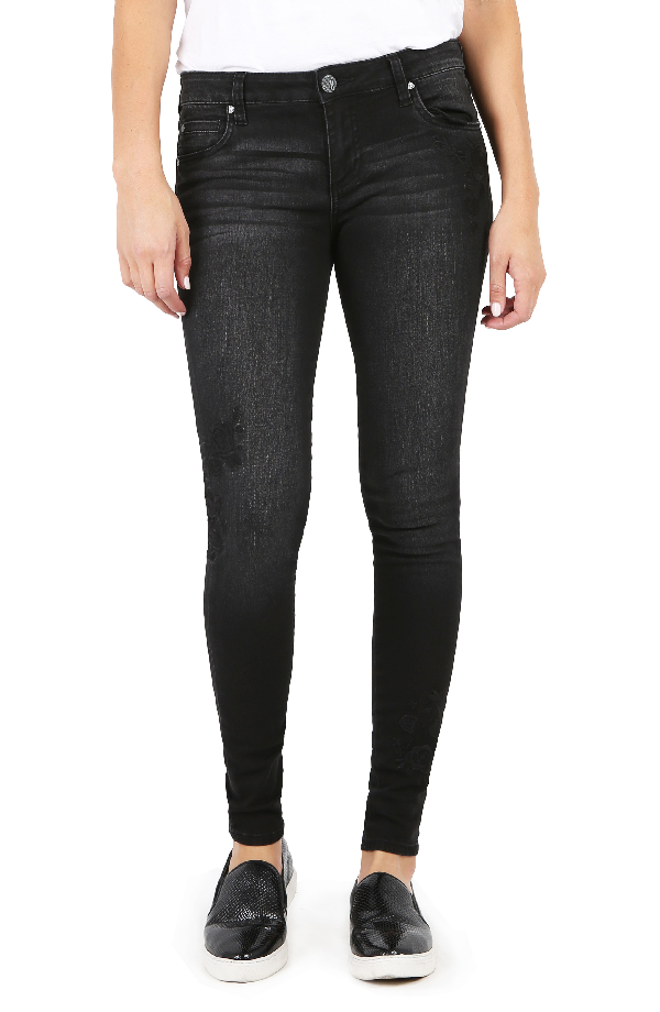 Kut From The Kloth Mia Embroidered Skinny Jeans In Versed W/ Black Base
