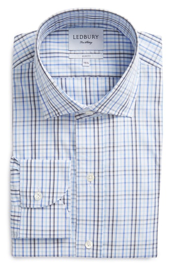 Ledbury Slim Fit Check Dress Shirt In Blue
