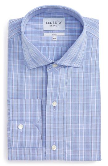 Ledbury Slim Fit Plaid Dress Shirt In Blue