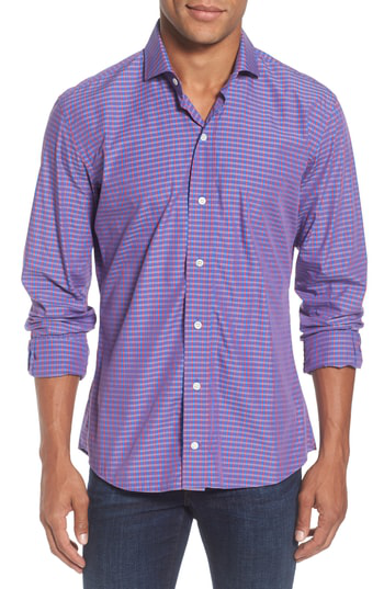 Ledbury Alden Slim Fit Check Sport Shirt In Wine