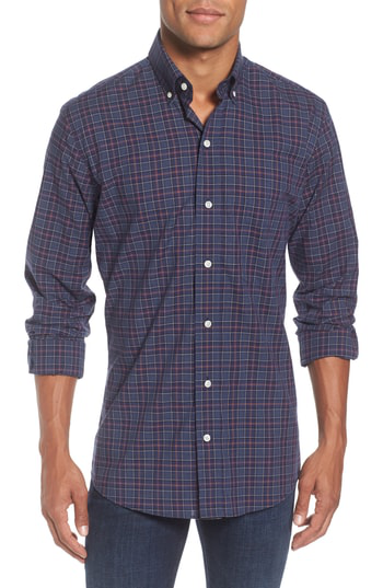 Ledbury Slim Fit Plaid Sport Shirt In Navy