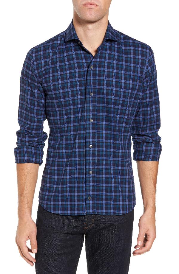 Ledbury The Blue Goode Slim Fit Plaid Sport Shirt