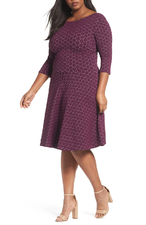 Leota Circle Knit Fit Amp Flare Dress In Aubergine Modesens