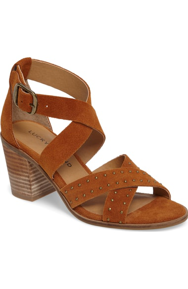 Lucky Brand Kesey Block Heel Sandal In Cafe Suede