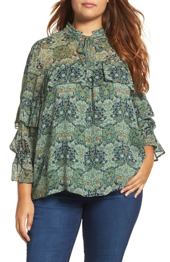 Lucky Brand Trendy Plus Size Ruffled Top In Green Multi