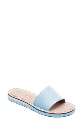 Bernardo Emily Slide Sandal In New Ocean Leather