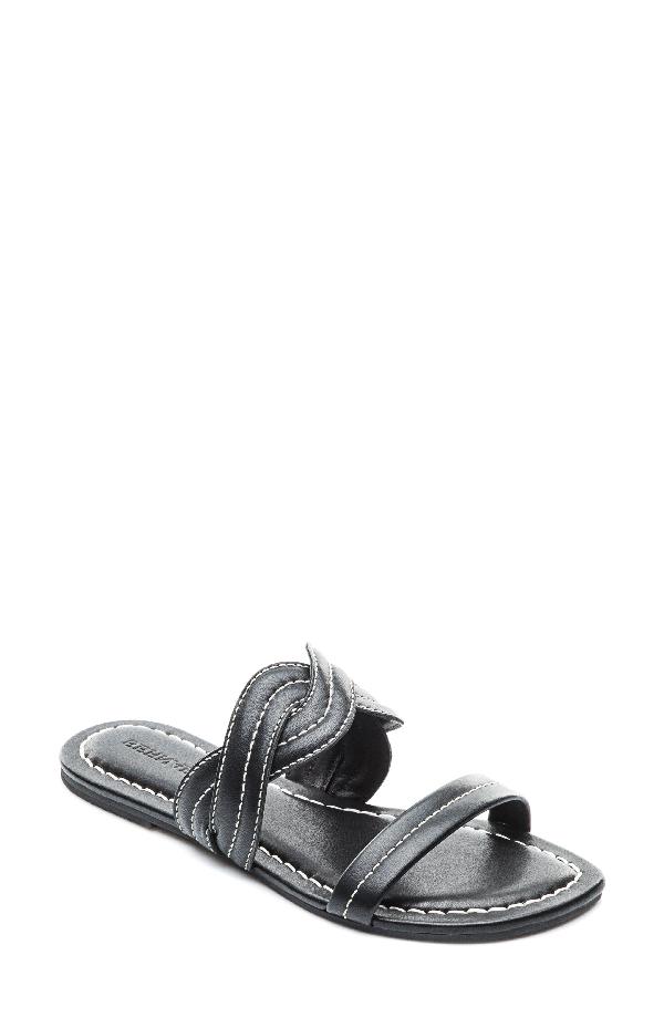 Bernardo Women's Leather Double Strap Slide Sandals In Black Leather