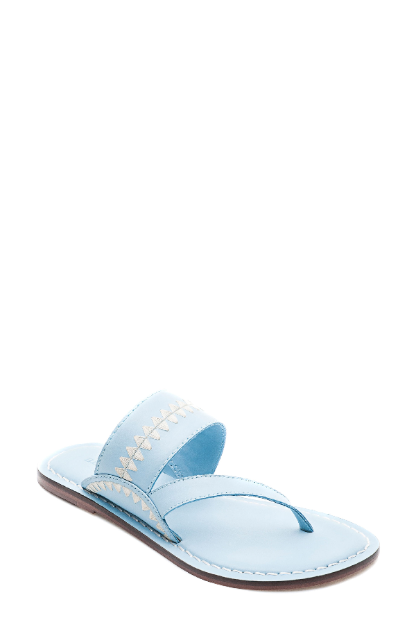 Bernardo Mary Embroidered Slide Thong In New Ocean Leather