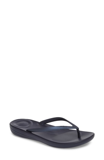 Fitflop Iqushion Flip Flop In Midnight Navy/parakeet