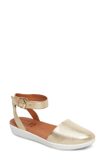 Fitflop Cova Ankle Strap Sandal In Gold Metallic Leather