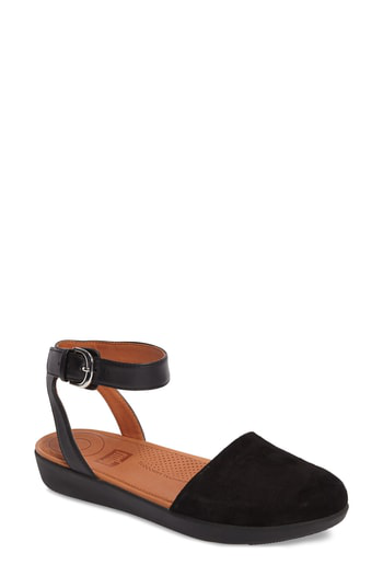 Fitflop Cova Ankle Strap Sandal In Black Suede