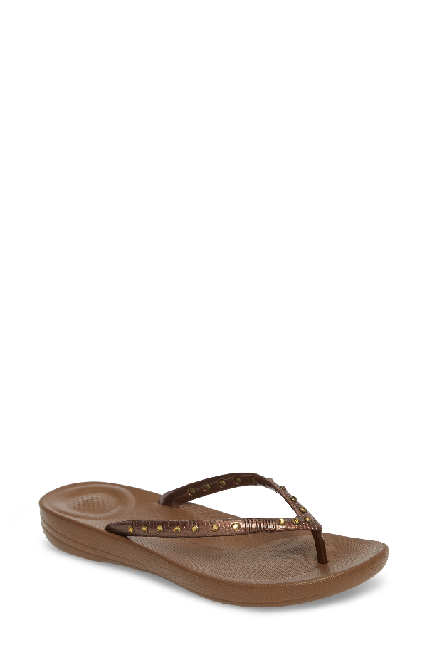 Fitflop Iqushion Flip Flop In Bronze/ Bronze