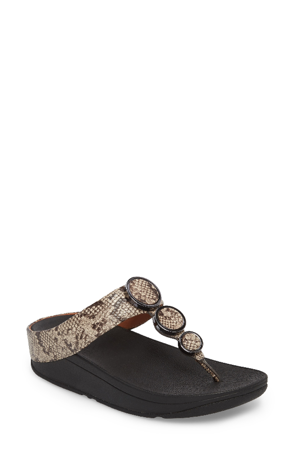 Fitflop Halo Sandal In Taupe Snake Print Leather