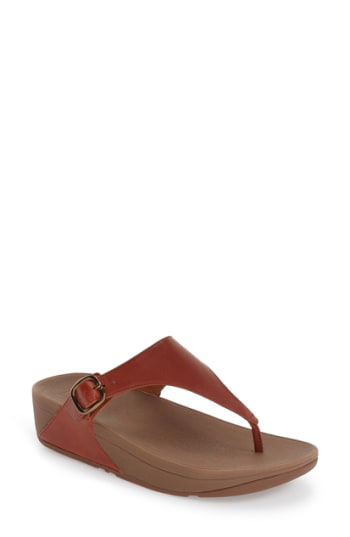 Fitflop 'the Skinny' Flip Flop In Dark Tan Smooth Leather