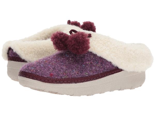 Fitflop (tm) Loaff Pompom Wool Slipper In Deep Plum
