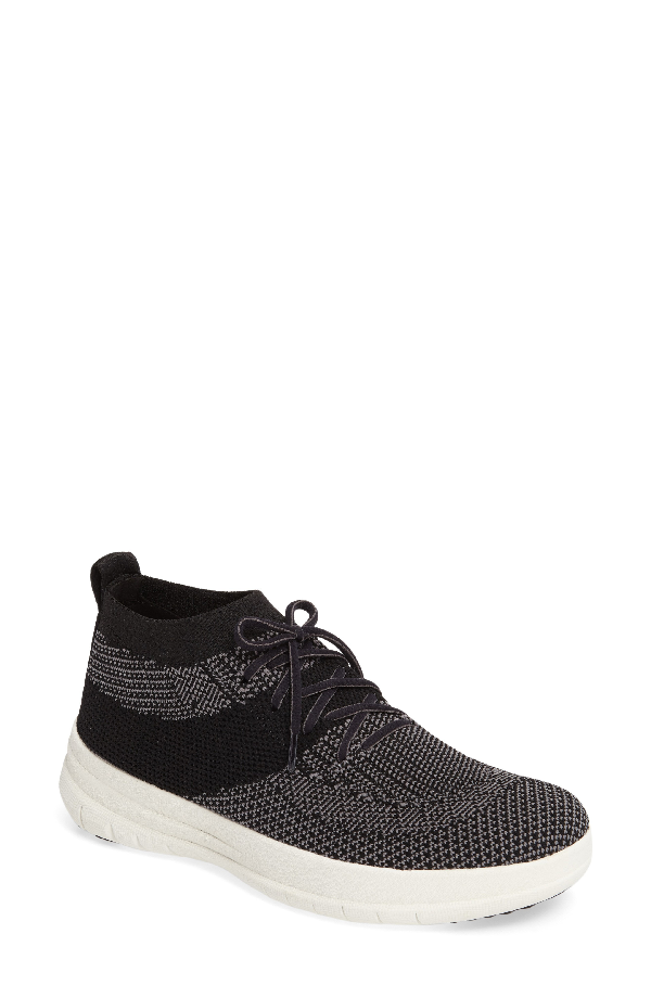 Fitflop Uberknit High Top Sneaker In Black/ Charcoal Fabric