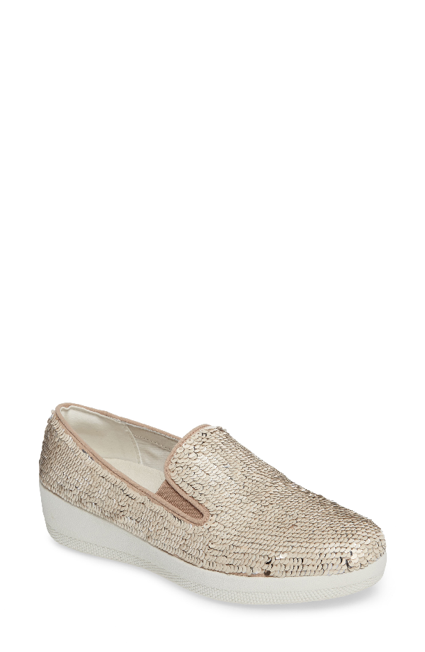 Fitflop Superskate Sequin Slip-on Sneaker In Cream Fabric