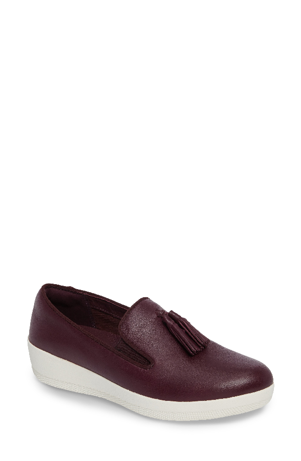 Fitflop Tassle Superskate Wedge Sneaker In Deep Plum Leather