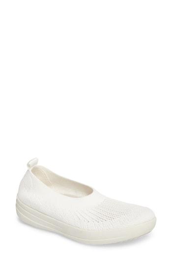 Fitflop Uberknit Slip-on Sneaker In White Fabric