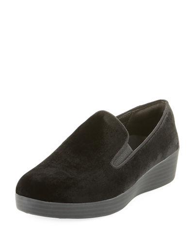 Fitflop Superskate Velvet Slip-on Sneakers In Black