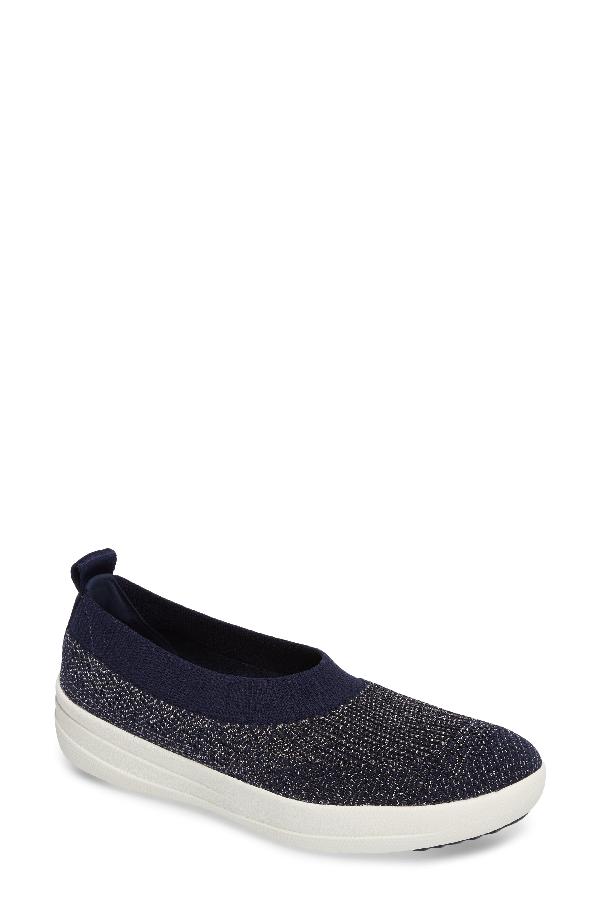 Fitflop Uberknit(tm) Slip-on Ballerina Sneaker In Midnight Navy/ Pewter Metallic