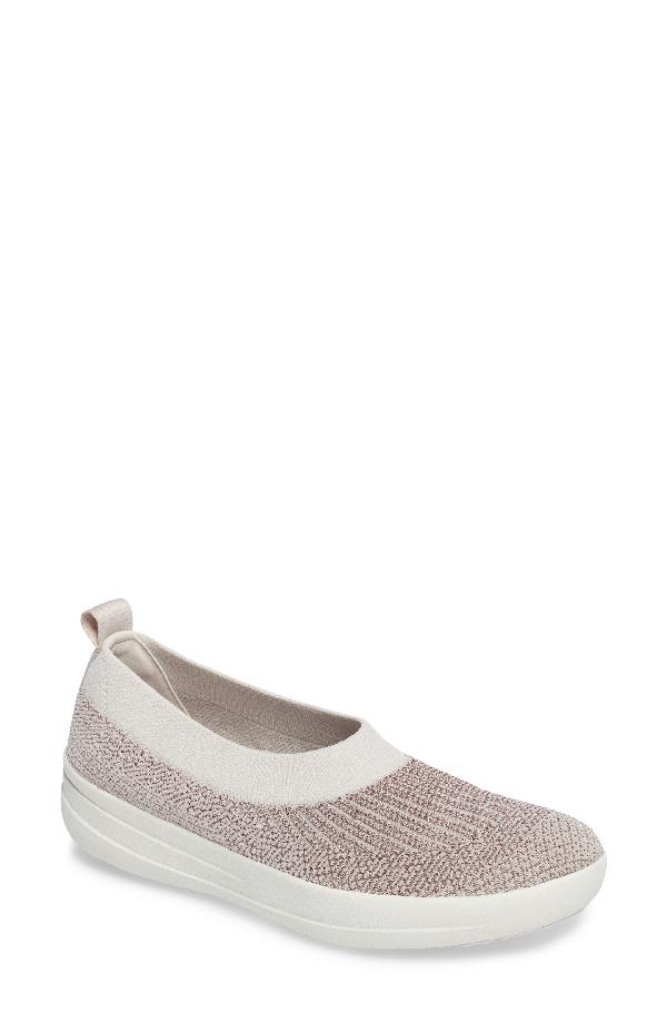 Fitflop Uberknit(tm) Slip-on Ballerina Sneaker In Stone Fabric