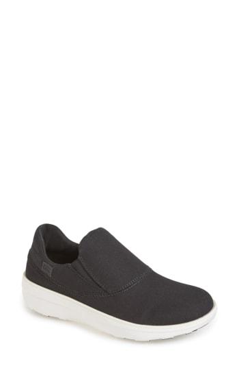 Fitflop Loaff Slip-on Sneaker In Black/ Black Fabric