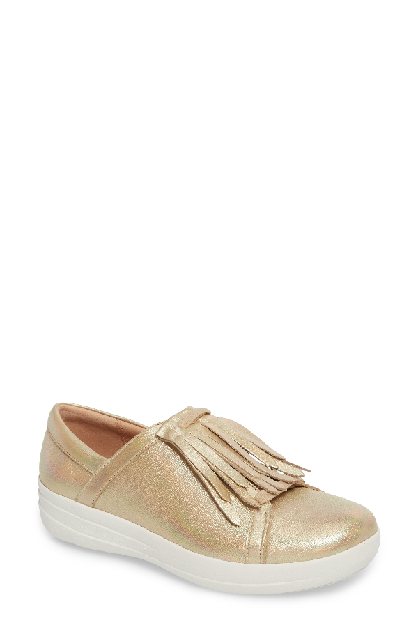 Fitflop F-sporty Ii Fringe Slip-on In Gold Iridescent Leather