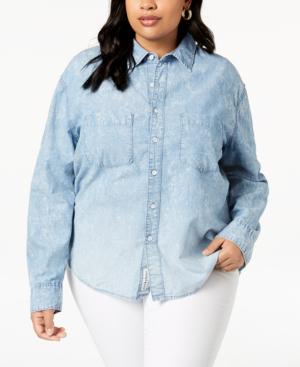 Lucky Brand Trendy Plus Size Cotton Boyfriend Shirt In Melvin