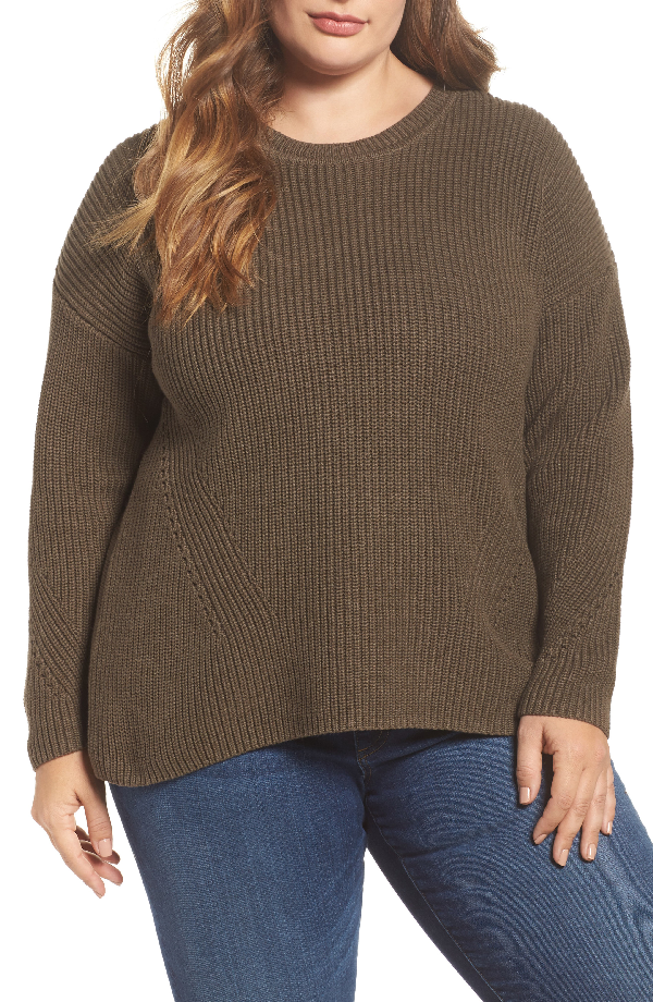 Lucky Brand Trendy Plus Size Lace-up-back Sweater In Olive