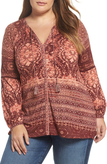Lucky Brand Trendy Plus Size Mixed-print Peasant Top In Burgundy Multi