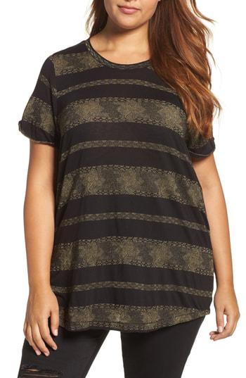 Lucky Brand Metallic-stripe T-shirt In Black