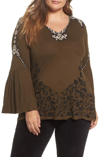 Lucky Brand Trendy Plus Size Embroidered Bell-sleeve Top In Olive