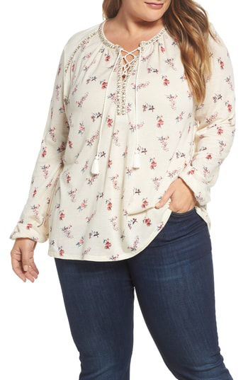 Lucky Brand Trendy Plus Size Floral-print Lace-up Peasant Top In Natural Multi